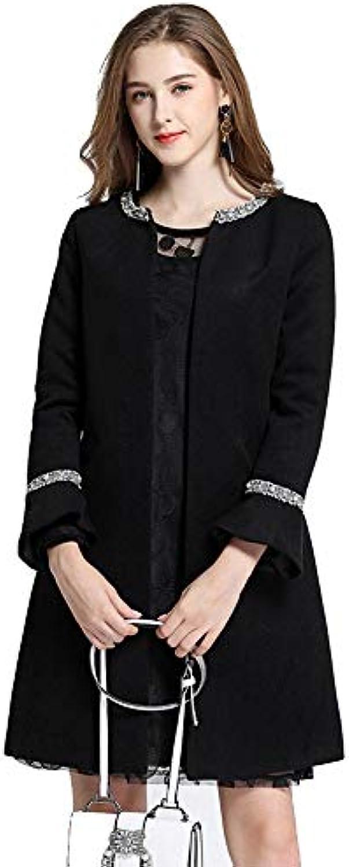 ... Vitila Giacche da Donna Cappotti Cappotto Lungo Cappotto Nero di Moda  Lana Moda di Casual di ec869f43a3d