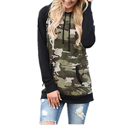 Taiduosheng Damen Sweatshirt Black,Camouflage, schwarz, YGXH70515-1-1-8 Camouflage Cotton Sweatshirt
