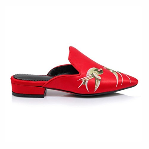 Retro Mode Rouge Femmes Oiseau Confortable des UH de Talon Broderie a avec et Mules la Plates a Chaussures OqS1q4
