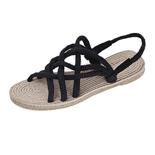 Longra Donne sandali di gomma (EU Size:40, Nero)