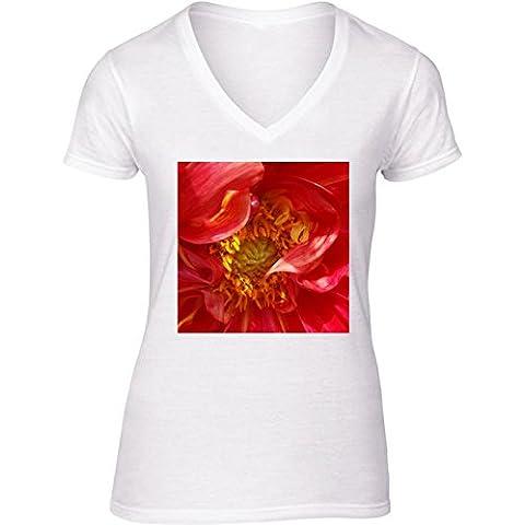 Camiseta V Cuello para Mujer - Pétalos Rojos by feiermar