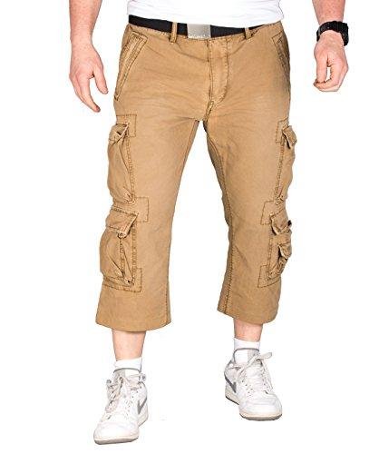 Canvas-loose-fit-jeans (JETLAG 008 Kurze Herren Loose Fit Cargo Hose Short Pant in Beige (34) + BetterStylz Webgürtel Canvas)