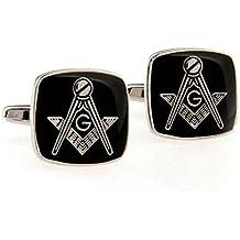 Botones de gemelos masónico la escuadra y el compás, Negro–Marco Plata cromado