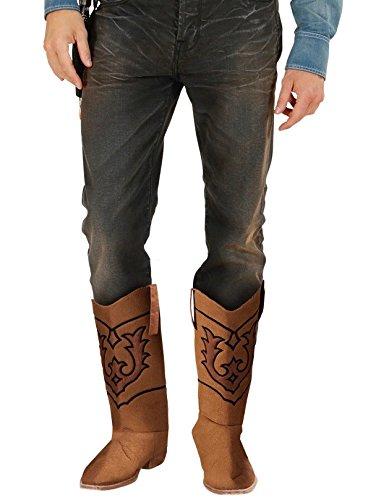 shoperama Braune Stiefel-Stulpen für Cowboy Kostüme Cowgirl Schuh-Überzieher Zubehör