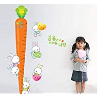 Suwhao Carrot Rabbit Height Measure Wall Stickers for Kids Room Bedroom Nursery Growth Ch Eco-Friendly Vinyl Decals