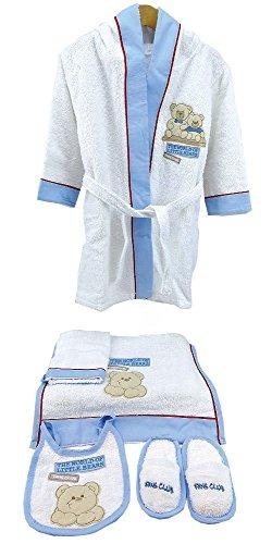 Bebessi Bademantel Set mit Kapuze 5tlg Baumwolle Jungen (Urlaub Waschlappen)