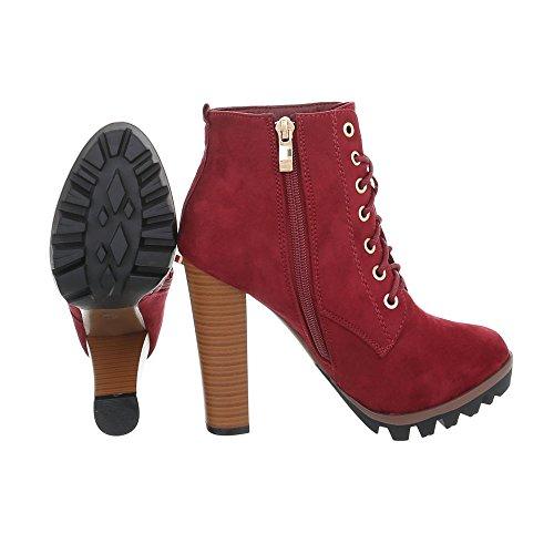 High Heel Stiefeletten Damenschuhe High Heel Stiefeletten Pfennig-/Stilettoabsatz High Heels Reißverschluss Ital-Design Stiefeletten Weinrot 118-1-1