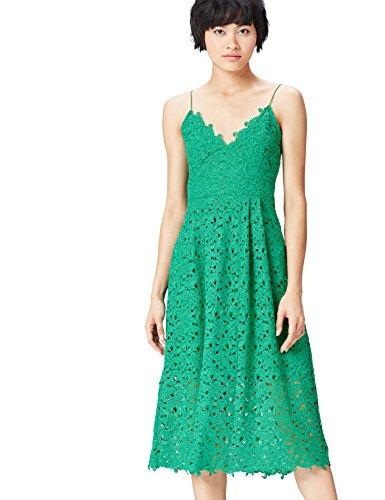 FIND Vestido con Crochet De Tirantes y Escote de Pico para Mujer , Verde (Green), 36 (Talla del Fabricante: X-Small)