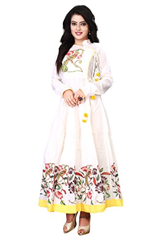 Om Sai Latest Creation Women's Cotton Kurti(White_Medium)