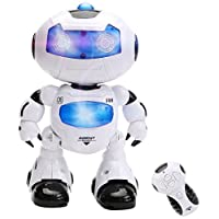WISHTIME Remote Control Robot Toy Intelligent Walking RC Space Robot with Music& Light for Kids