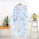 LWW Peignoir de Bain,Printemps, été et Le Style Coton Gaze Kimono Robe Service à Domicile Longue Section Grand Pyjama Cravate Taille Peignoir Peignoir Cuisson à la Vapeur d'automne