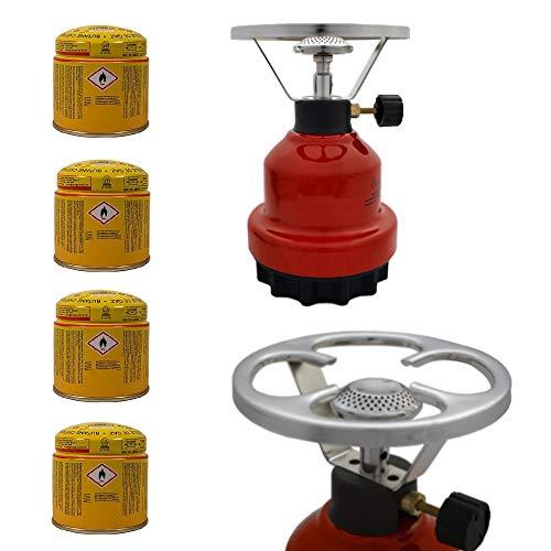 E190 Gaskocher mit Metallgehäuse | Campingkocher | Kochplatte | Camping Kocher Set mit 4X 190g Gaskartuschen