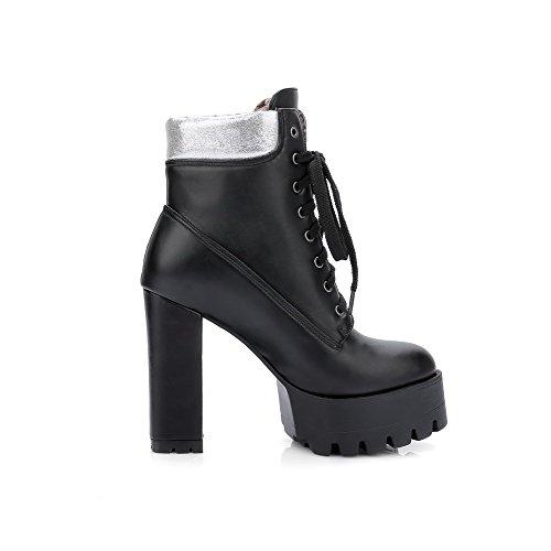 AllhqFashion Damen Gemischte Farbe Niedrig-Spitze Zweifarbig Schnüren Hoher Absatz Stiefel Schwarz