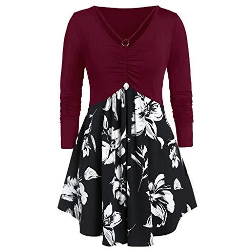 Andouy Langarm-Shirt für Frauen Dressy Tunika Tops Casual Gefälschte 2-Stück Bluse mit Blumen(3XL.Rot)