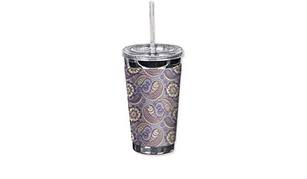 16 oz Mugzie 846-TGCLavender Paisley To Go Tumbler with Insulated Wetsuit Cover Black