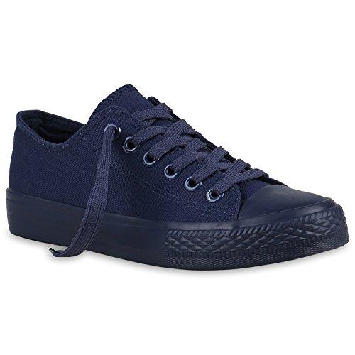 Damen Sneakers Sport Sneaker Low Denim Stoff Blumen Camouflage Schuhe 123352 Dunkelblau 36 Flandell (Blume Stoff Schuhe)