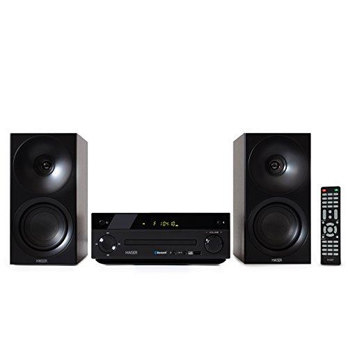HAISER HSR 118 | 40 Watt RMS mit • CD Player • Bluetooth • USB • Boxen • FM Radio | Stereoanlage Kompaktanlage Musikanlage HiFi Anlagen Mini Anlage Microanlage Mini Stereoanlage Soundanlage