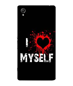 FUSON Designer Back Case Cover for Sony Xperia C6 Ultra Dual (I Love Myself Bloody Heart Black Background)