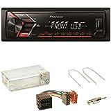Pioneer MVH-S100UB Autoradio USB Aux 1-Din MP3 FLAC WMA Einbauset für Opel Astra F G Corsa B Zafira A