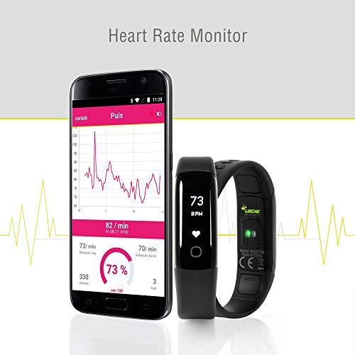 Sharon Fitnessarmband Herzfrequenzmesser Pulsuhr Aktivitäts-, Schlaf- und Fitness Tracker | instant Herzfrequenzmessung, Schrittzähler, Uhrzeitanzeige, Weckfunktion | 30 Tage Akkulaufzeit | saunafest, wasserdicht (IP68) |App für Android und iOS | integriert Apple Health,Google Fit | Anruf/SMS-Benachrichtigung | Apple iPhone 7 und 8, Samsung S7 und S8, Huawei, LG, Sony - 2