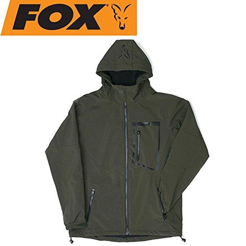 Fox Green Black Softshell Jacket - Angeljacke, Softshelljacke, Anglerjacke, Jacke zum Angeln, Regenjacke, Größe:M