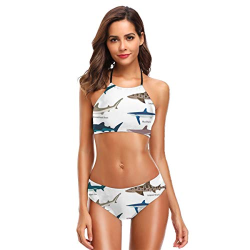 Women's Swimwear Sexy Halter Two Piece Bikini Sets Swimsuits,Types of Sharks Bronze Whaler Piked Dogfish Whlae Shark Maritime Design Nautical XXL,Bathing Suits Bronze Mens Tie