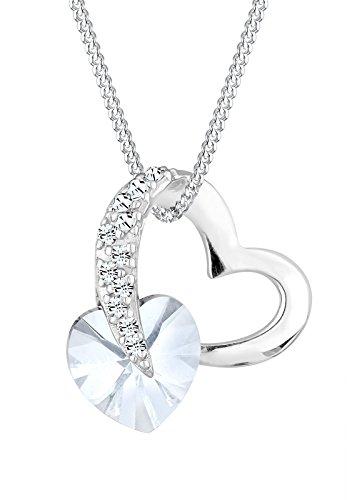 Elli Damen Schmuck Halskette Kette mit Anhänger Herz Liebe Glamourös Silber 925 Swarovski® Kristalle Weiß Länge 45 cm