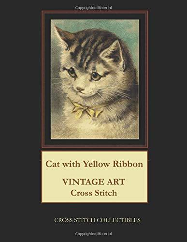Cat with Yellow Ribbon: Vintage Art Cross Stitch Pattern por Cross Stitch Collectibles