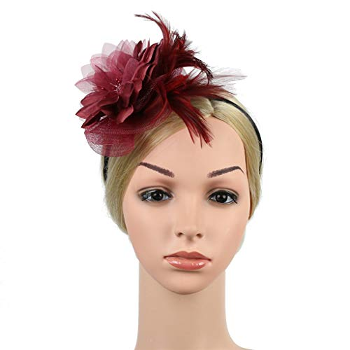 Kostüm Inspirierte Wein - Factorys Feather Fascinators-Stirnband, Damen-Blumen-Derby-Hut für Cocktailball-Hochzeits-Kopfschmuck