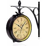 Reloj de pared doble cara Vintage estilo retro-Plancha cama tamaño doble cara doble cara reloj de pared Relojes de movimiento de silencio