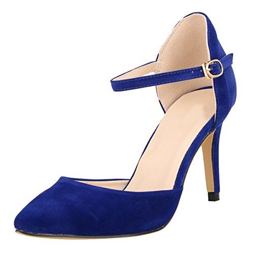 Strap High Heel (DULEE Damen Strap Stiletto Heel Spitzschuh Sandalen High Heel Pumps,Blau 37)