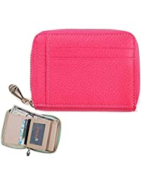 Genuine Leather Zip Around Wallet Small Wallet (Hot Pink) By H_Fourteen