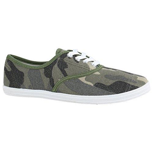 Stiefelparadies Damen Sneakers Prints Sportschuhe Camouflage Stoffschuhe 151524 Camouflage Dunkelgrün 39 Flandell