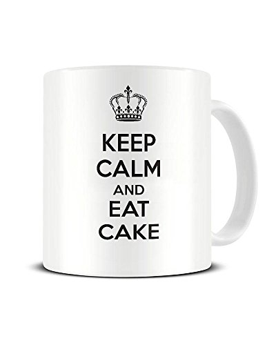 Funky NE Ltd Kaffeetasse mit Aufschrift Keep Calm and EAT Cake - Carry On, Keramik, tolle...
