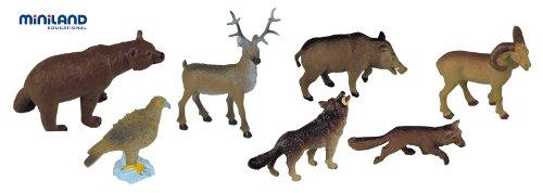 Miniland - Bote con animales del bosque, 8 figuras (25126)