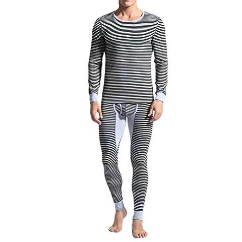 Zhhlaixing Sous-vêtements thermiques pour hommes Mens Thermal Underwear Set Long Sleeves Striped Round Neck Soft Cotton Blend Shirt & Pants L-2xl Halloween Christmas Gift