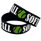 Relddd La Pulsera de Pulsera Softbol Suave de Silicona Pulsera 1 Pulgada béisbol Regalo Creativo Conjunto de 2 Piezas