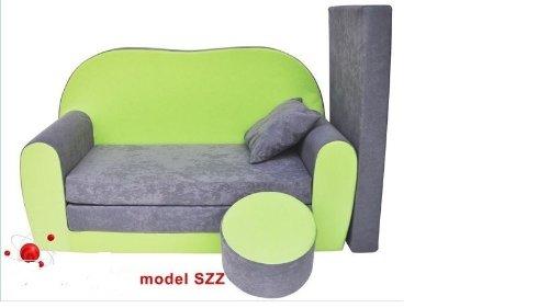 Divano divanetto bambini e cuscino e puff mini divano transformabile in lettino.