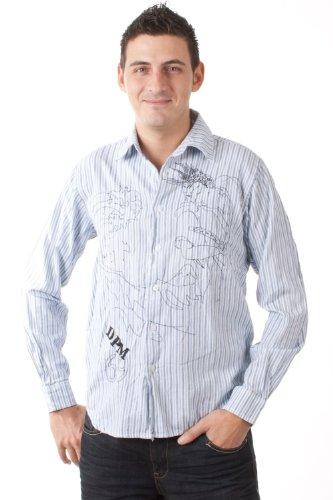 Kiro Yoshikana langarm Hemd DPM weiß blau gestreift 4112 1000, Größe:M