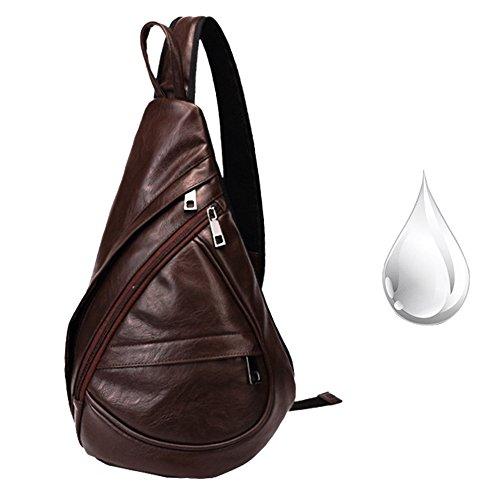 Imagen de pecho  cuero sinokal bolso pecho casual bandolera hombro triángulo paquetes daypacks para hombres mujeres sling bolsa de carga para el deporte al aire libre gimnasio viajes senderismo marrón