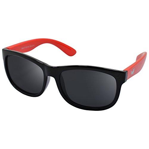WHCREAT Kinder Wayfarer Polarisierte Sonnenbrille Flexibel Gummirahmen für Mädchen Jungen Alter 3-10 - Schwarz Rot Rahmen Schwarz Linse