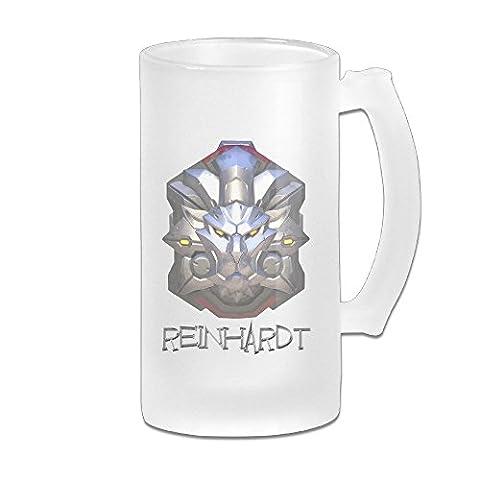 Cedaei OW Reinhardt Overreinhardt montre personnage de jeu vidéo Logo Bière en verre givré Blanc Pub Mug Cool 453,6gram