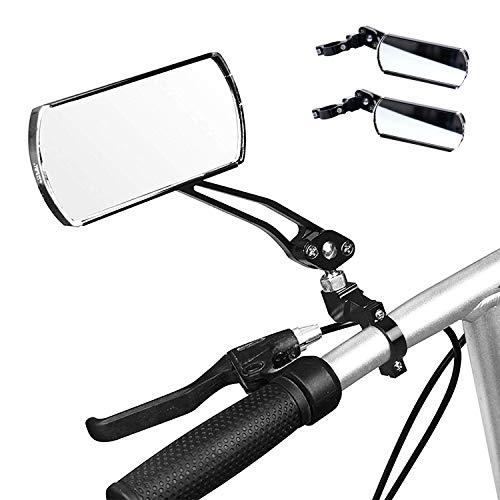 wishing Fahrrad-Rückspiegel, 2 Stücke Fahrradspiegel Fahrrad Radfahren Rückspiegel 360-Grad drehbar 125 x 50 mm flachen Spiegel für MTB Fahrrad,Rollstuhl,Mofa, Rollator, Rennrad, E-Bike (Fahrrad Rückspiegel)
