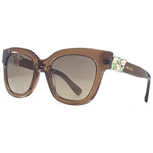 Jimmy Choo Ornate Diamante Temple Sunglasses in Translucent Brown MAGGIE/S A2K 51