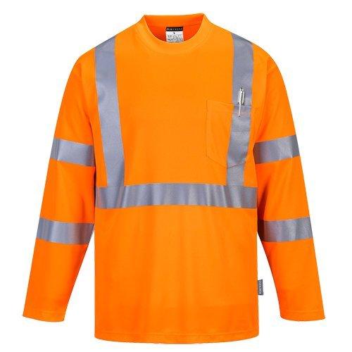 Portwest s191orrxxxl Herren Hi-Vis langärmelige Pocket T-Shirt, Regular, Größe 3X Große, orange -