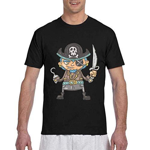 T-Shirt Men's Casual Short Sleeve Cartoon Skeleton Pirate Printed Shirts Tee XX-Large -