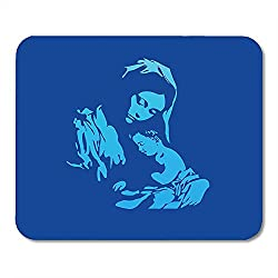Kirche Bunte Jungfrau Maria mit Jesus Christus im blauen katholischen Heiligen Blickfang Rutschfeste Mousepads 18 * 22cm
