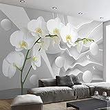 Personalizzato Moderno 3D Spazio Phalaenopsis Fiore Foto Wallpaper Murale Soggiorno Camera Divano Sfondo Decorazione della parete 3D panno parete rotolo (W) 350x (H) 245 cm