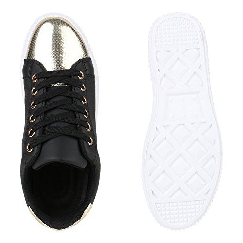 Sneakers Low Damen Lack & Glitzer Turnschuhe Freizeit Schuhe Schwarz Lack
