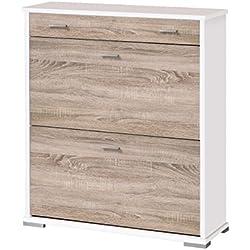 OVERHOME365 2205 B/CM - Zapatero, madera, color blanco y cambrian, 76x26x84.5 cm (anchura x profundidadx altura)